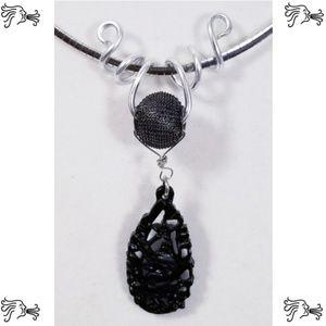 Aluminum Silver Spiral Pendant Black Wire Bead
